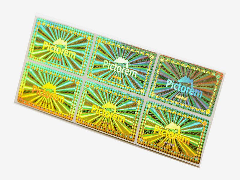Rectangle Golden Genuine Secure Hologram Sticker