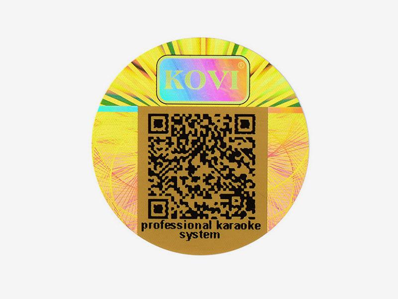 Tampered Round Gold Hologram Sticker Manufacturer With QR CODE