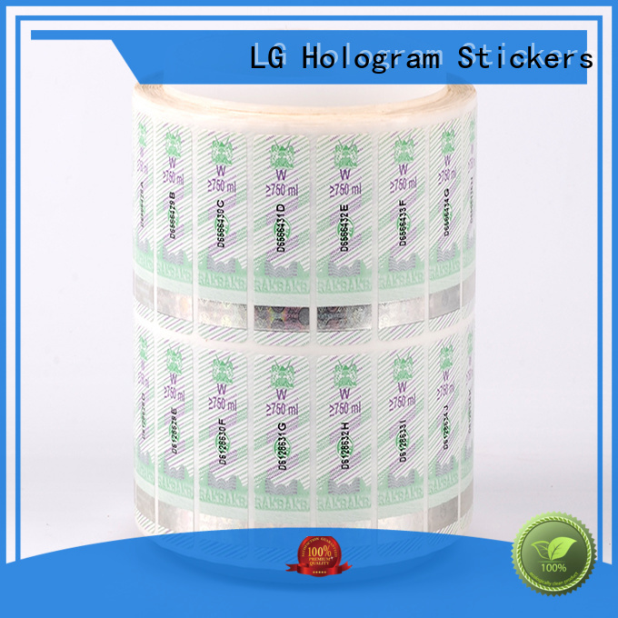 PVC holographic security stickers number for goods LG Printing