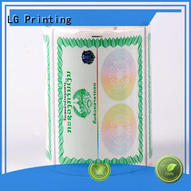 LG Printing number hologram stickers uk manufacturer for products
