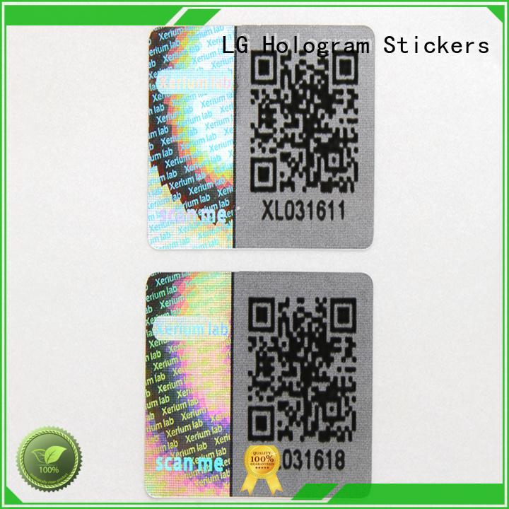 custom shape hologram sticker transparent LG Printing company