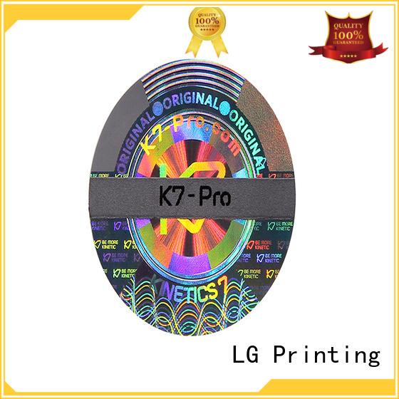 LG Printing void hologram sticker printing logo for box