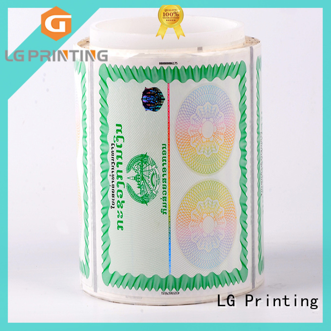 LG Printing positioned security protected stickers series for box