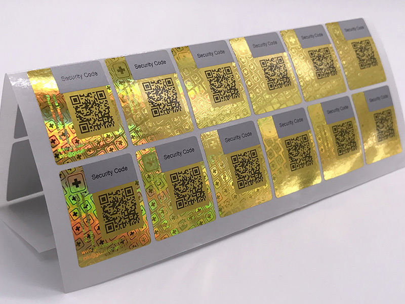 Golden color scratched hologram label sticker