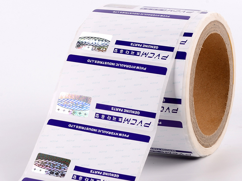 Positioned stamping hologram label 118