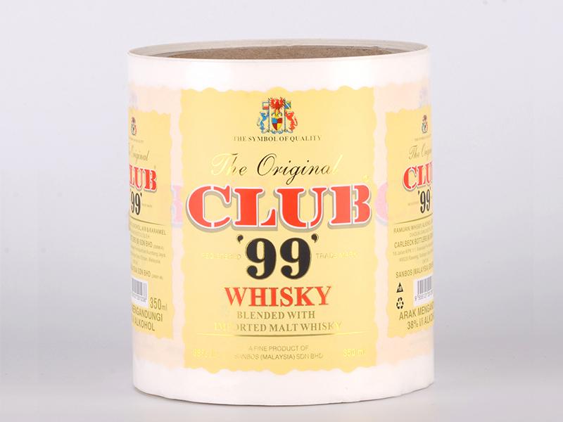 Gold Foil Paper Adhesive Custom Sticker Label For Whisky Bottle