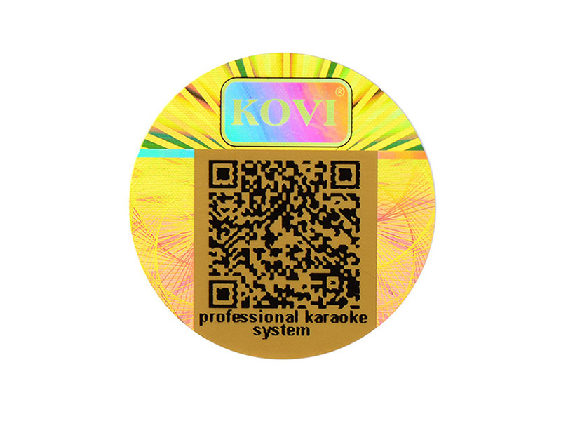 Tampered Round Gold Hologram Sticker Manufacturer With QR CODE
