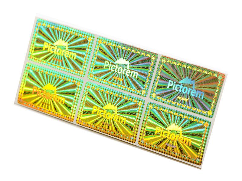 Retangle golden hologram sticker