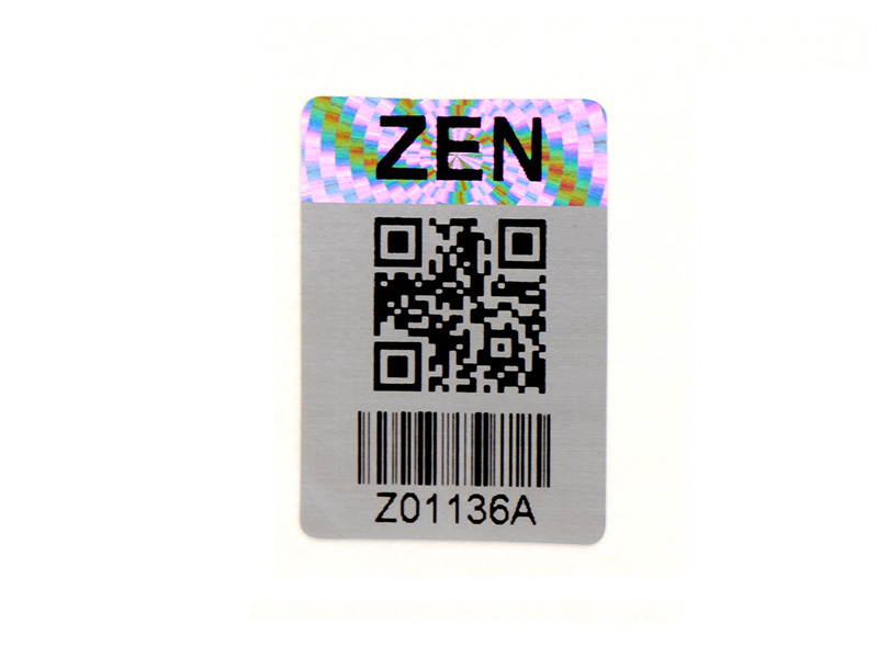 Barcode Qr Code Numbering Hologram Sticker Manufacturer In Silver Color