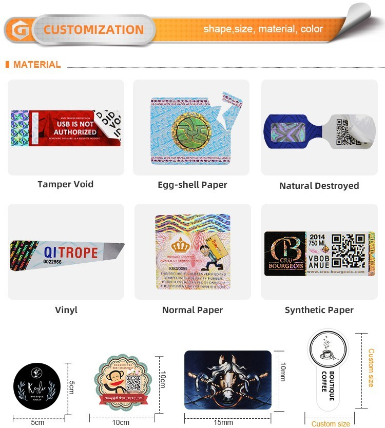 LG Printing positioned custom security stickers manufacturer for products