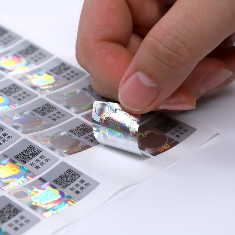 Customized printing holographic stickers one time factory price for garment hangtag
