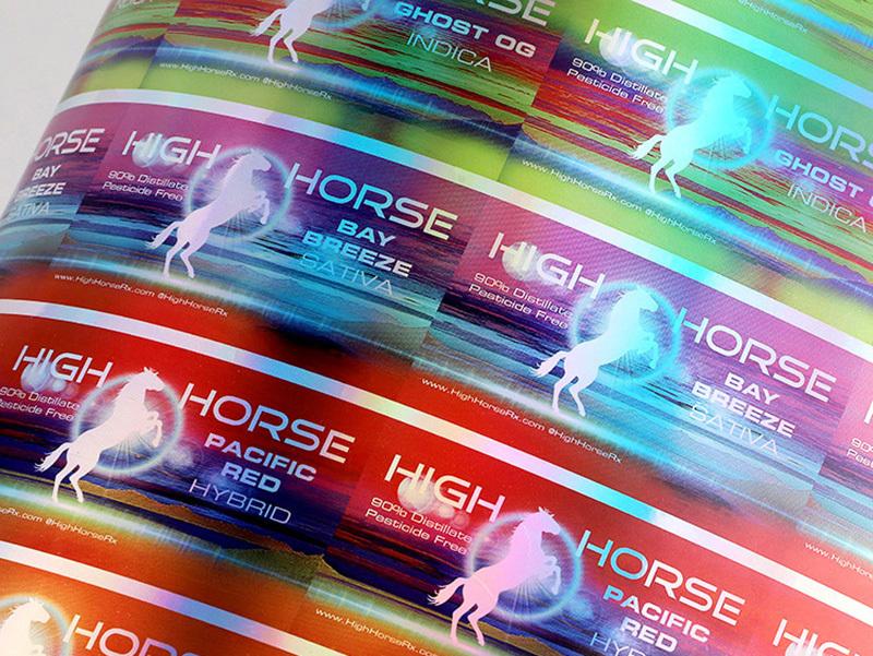 Custom Vinyl Stickers Horse Holographic Paper Label Sticker