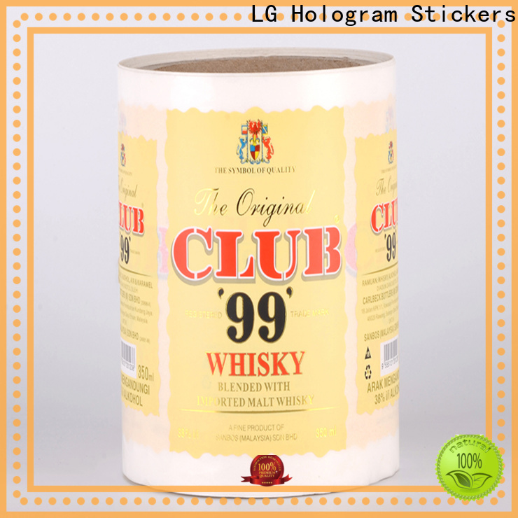LG Printing pvc pre printed labels supplier for wine bottle