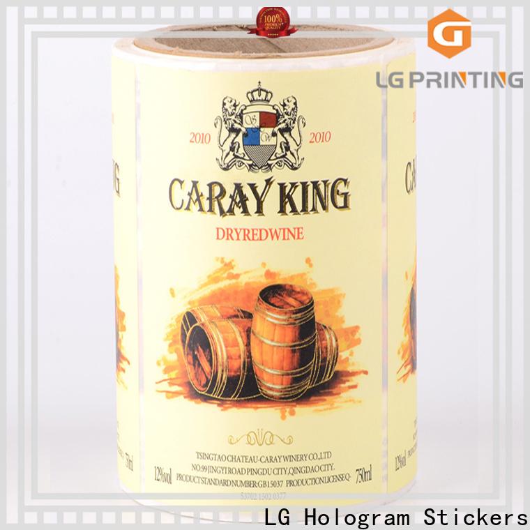 LG Printing transparent bottle label manufacturers manufacturer for wine bottle