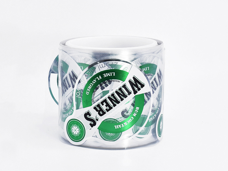 Transparent clear beverage bottle label sticker
