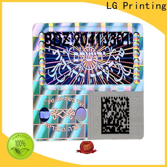 LG Printing colorful hologram stickers printing logo for box