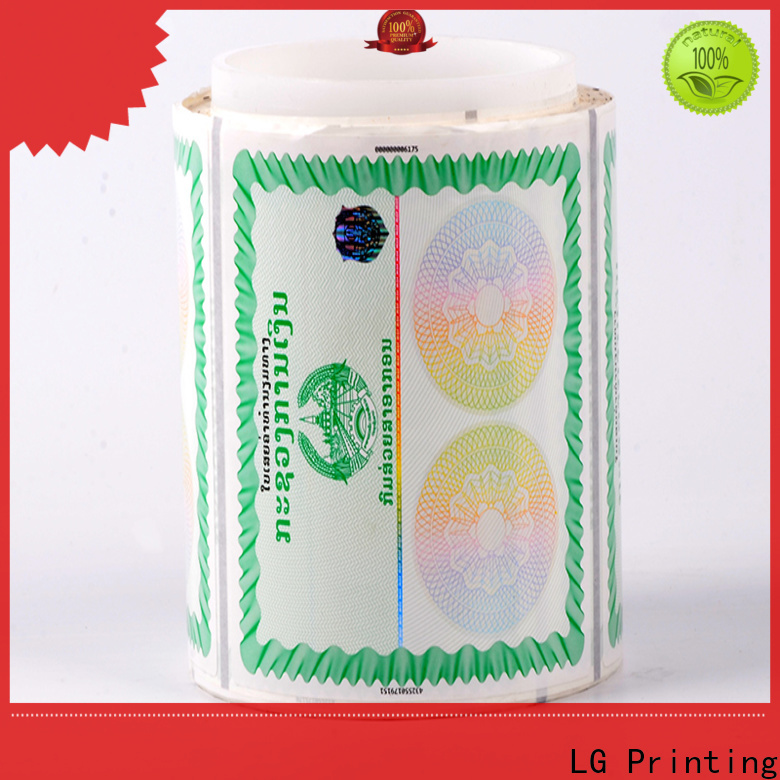LG Printing sticker holographic hot stamping supplier for goods