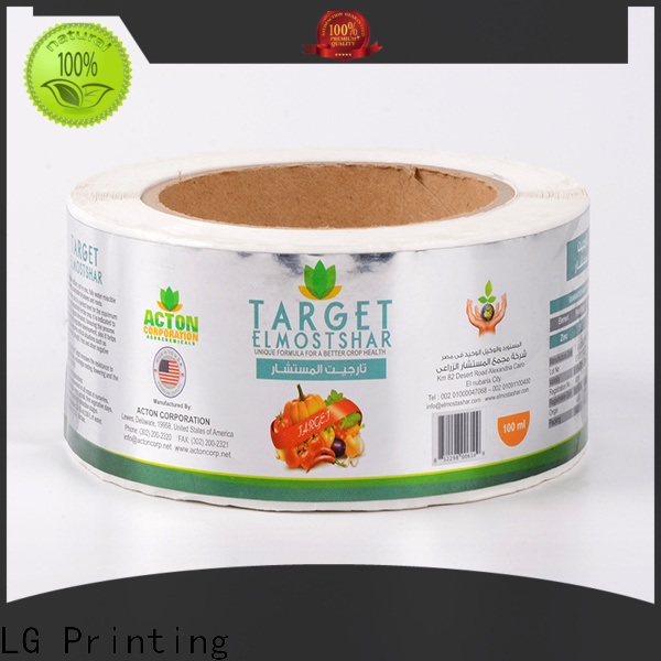 LG Printing glossy custom roll labels manufacturer for bottle