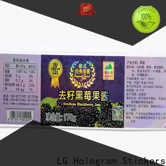LG Printing custom holographic stickers manufacturers