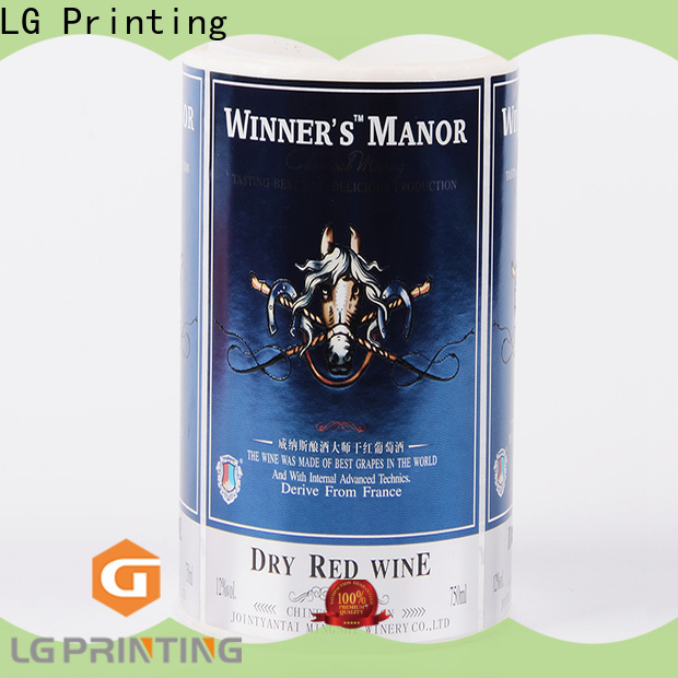 LG Printing gold adhesive labels for bottles supplier for wine bottle