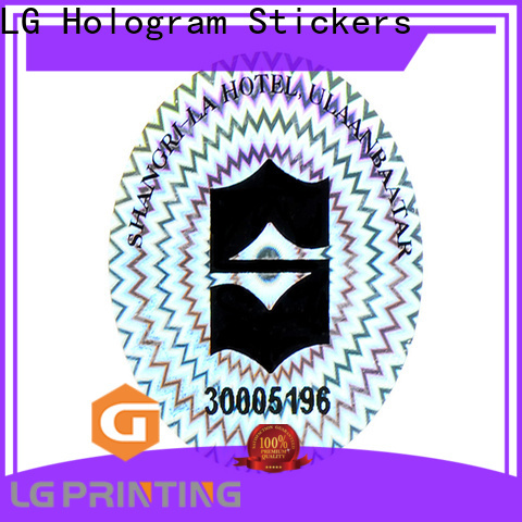 LG Printing retangle void hologram sticker logo for box