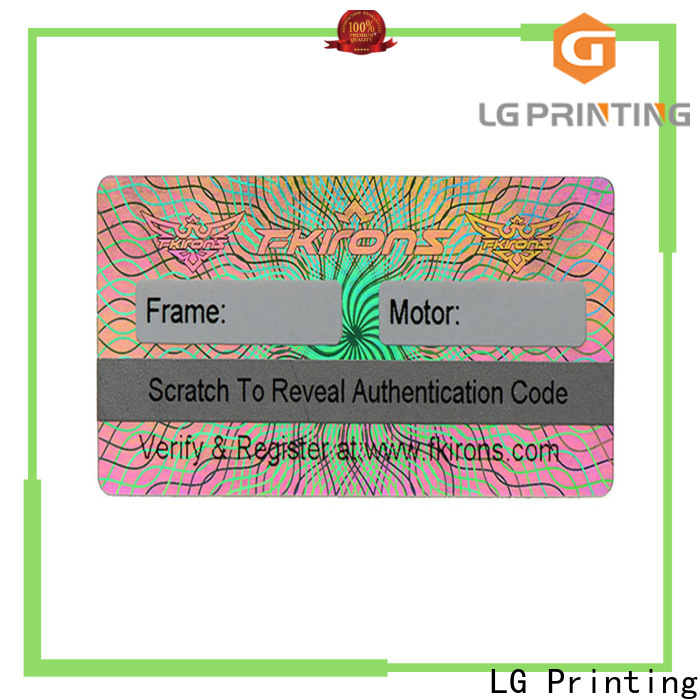 LG Printing gold id hologram stickers label for table