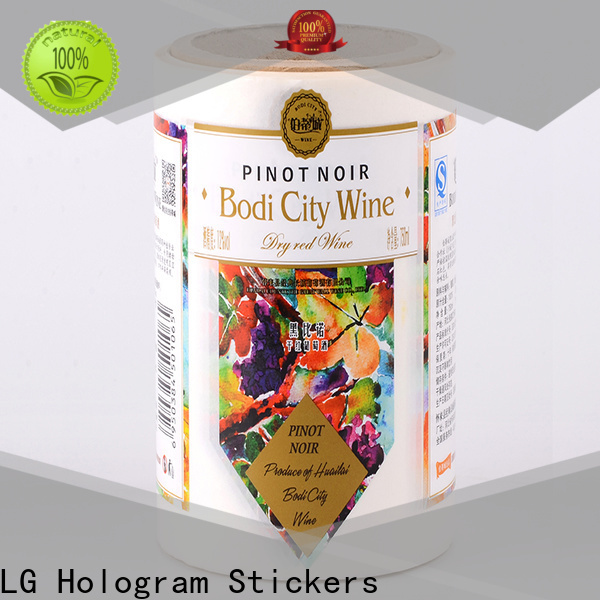 LG Printing waterproof bottle label manufacturers factory for wine bottle