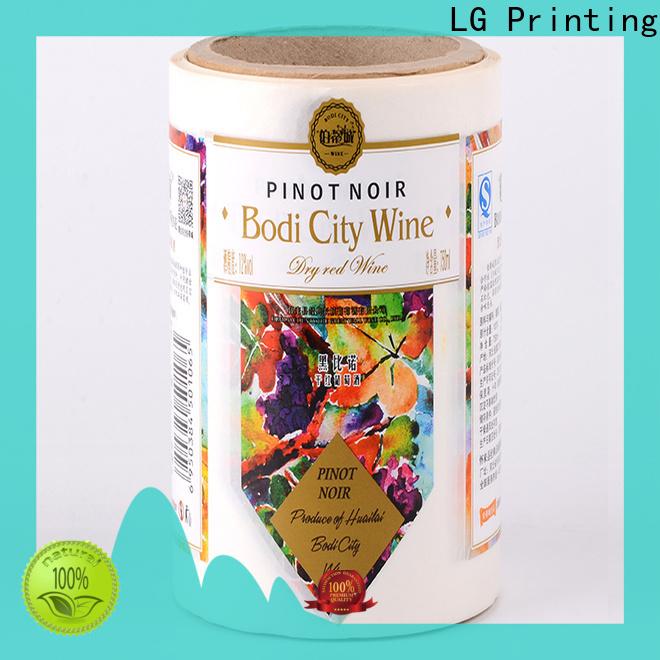 LG Printing bopp custom sticker printing manufacturer for wine bottle