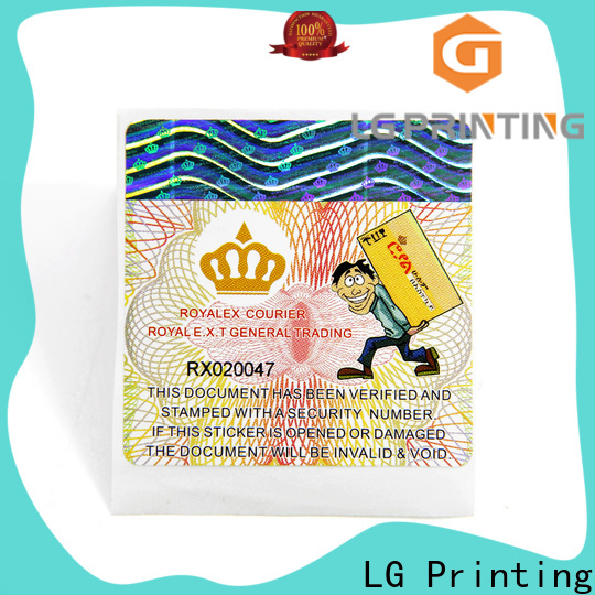 LG Printing security labels manufacturers for bag