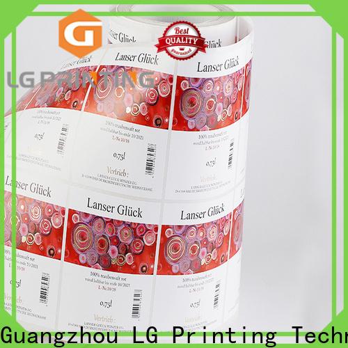 LG Printing bopp vinyl stickers for bottles manufacturer for bottle