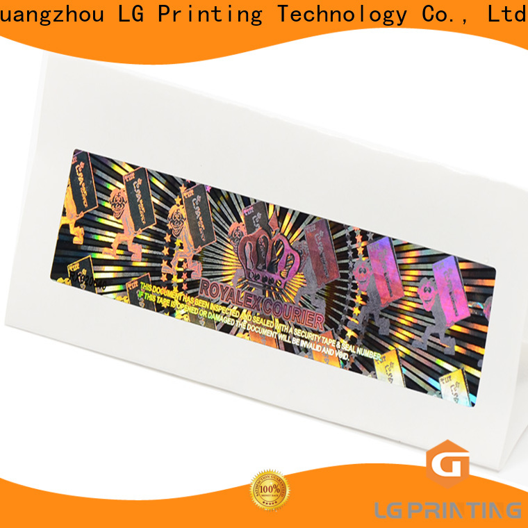 LG Printing void holographic sticker printing label for table