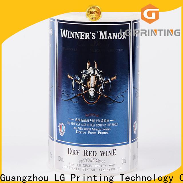 LG Printing printed wedding wine bottle labels supplier for bottle