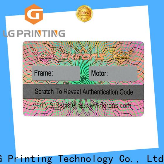 LG Printing various hologram sticker printing supplier for box