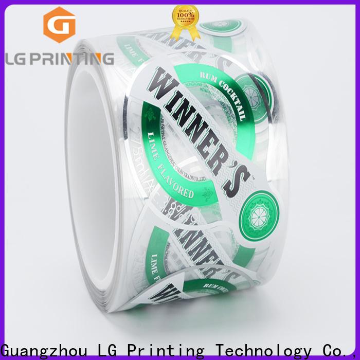 LG Printing pvc custom bottle labels manufacturer for jars