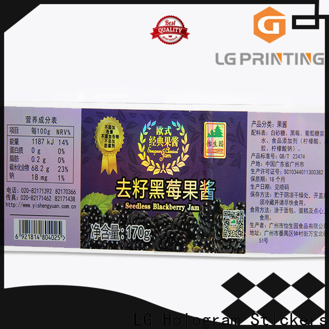LG Printing Quality holographic sticker sheet vendor for bottle package