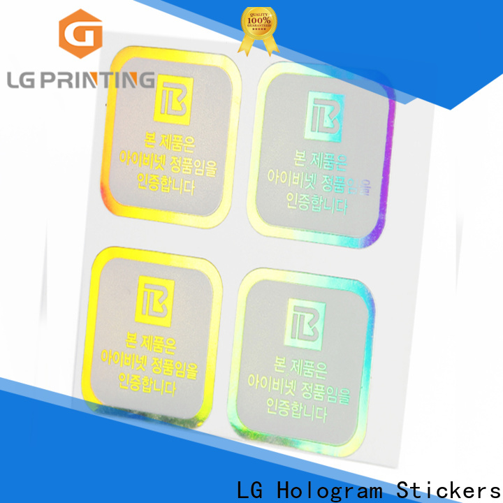 LG Printing Customized holographic vinyl sticker cost for plastic box surface