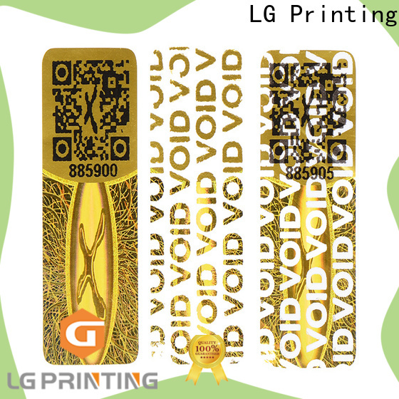 LG Printing one time hologramm sticker factory for garment hangtag