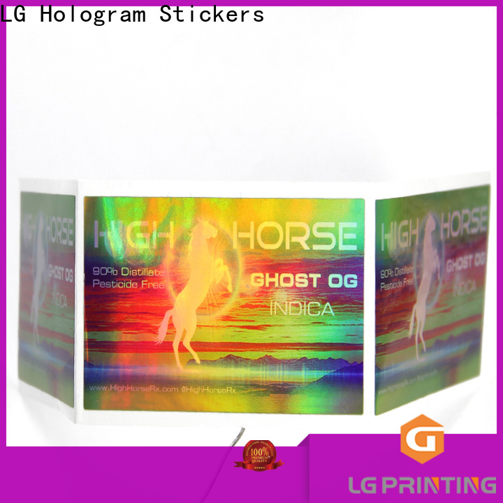 LG Printing Custom made holographic sticker maker wholesale for bottle package