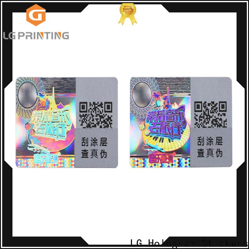 LG Printing Custom made hologram sticker sheet cost for garment hangtag