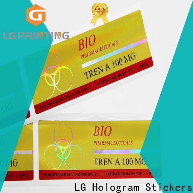 LG Printing holographic vinyl sticker wholesale for package
