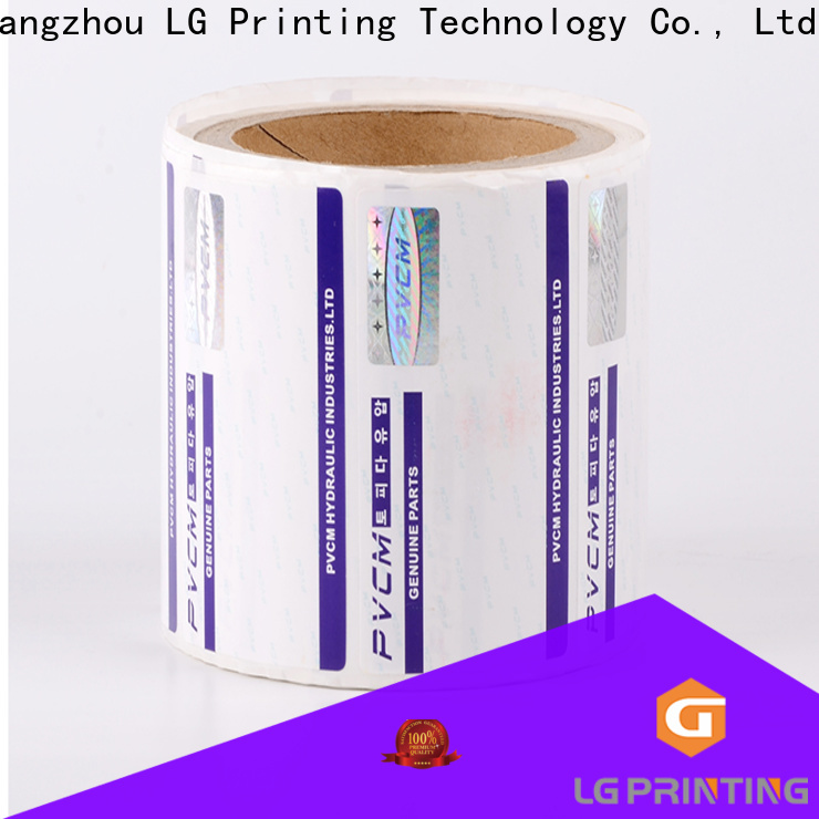 LG Printing foil hologram sticker maker company for bag