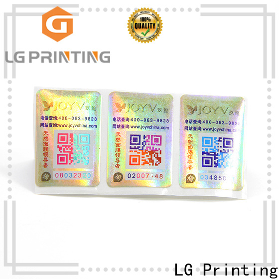 LG Printing Custom made hologram label printing price for box