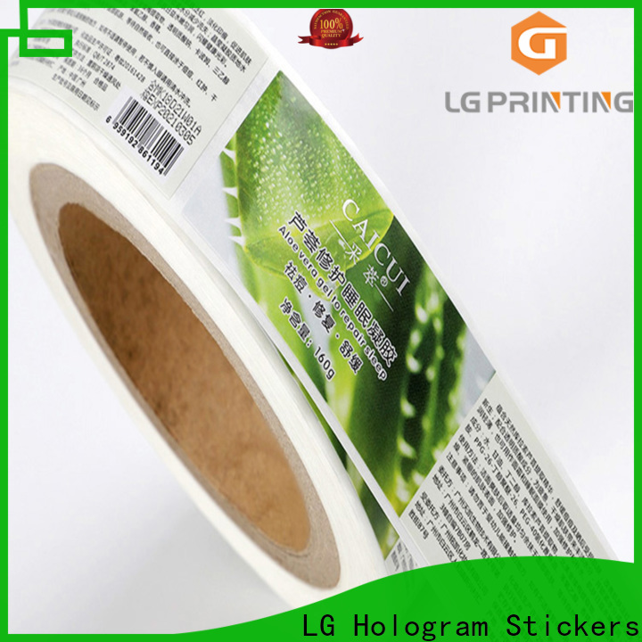 LG Printing silver self adhesive vinyl labels factory price for cans