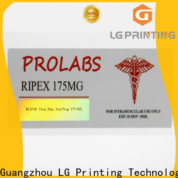 LG Printing hologram foil labels cost for bottle package