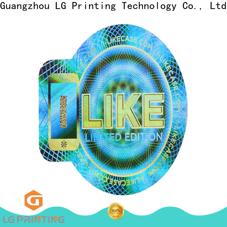 LG Printing 3d transparent hologram sticker cost for garment hangtag