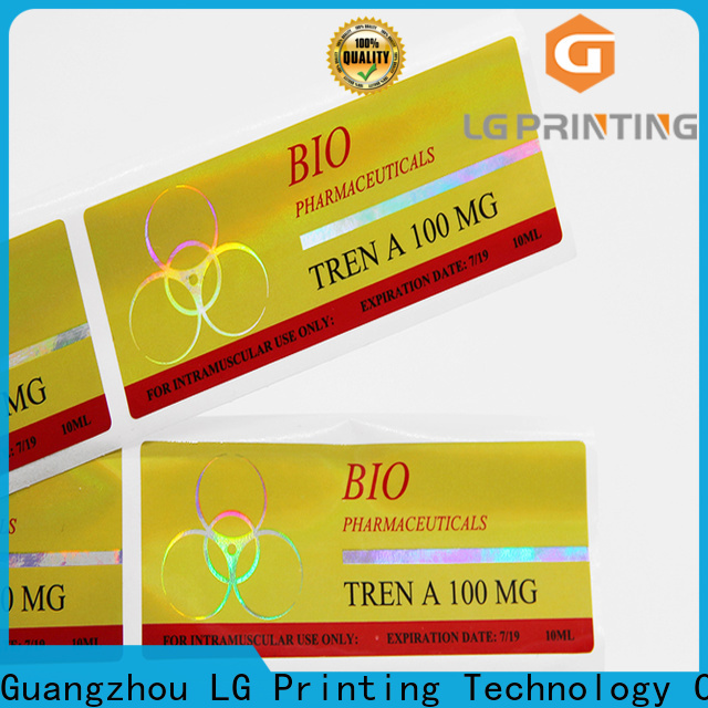 LG Printing custom holographic stickers wholesale for plastic box surface