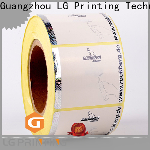 LG Printing PVC holographic labels suppliers price for bag
