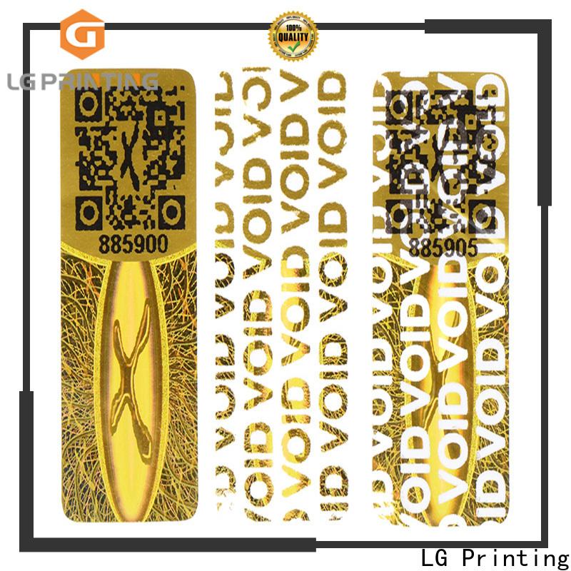 LG Printing Quality holographic seal wholesale for garment hangtag