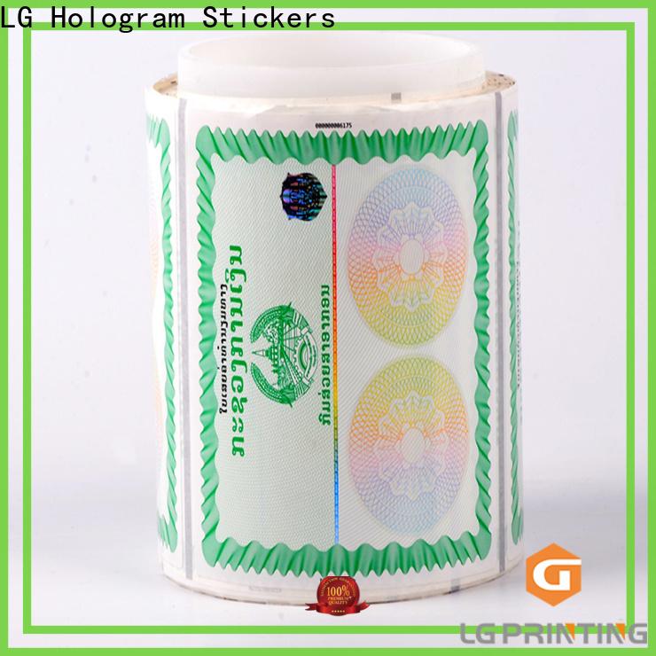 LG Printing Bulk buy hologram transparent cost for bag