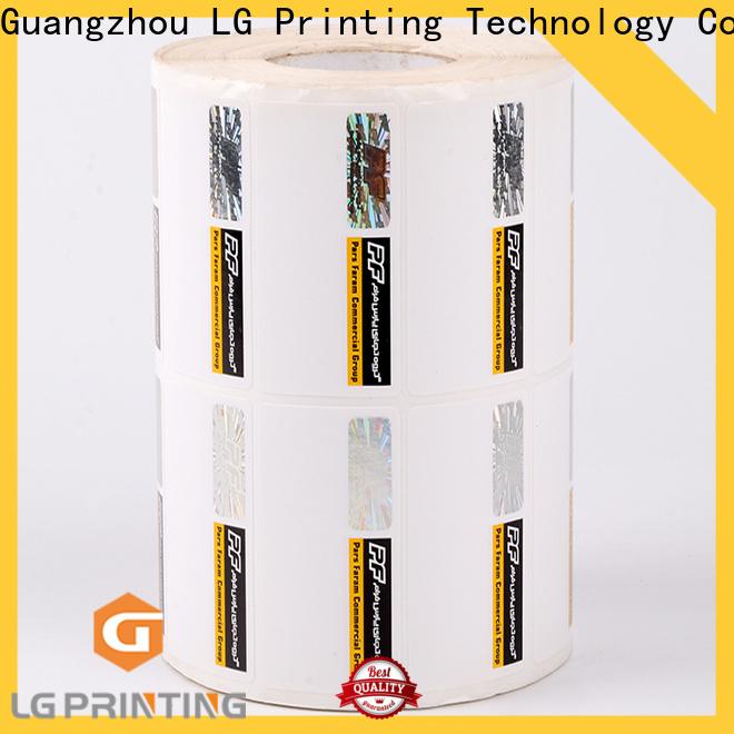 LG Printing silver tamper proof hologram stickers manufacturers for bag